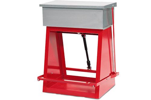 Reinigungsbehälter Wanne und Deckel aus Edelstahl Deckel wird über Fußpedal offen gehalten mit Siebboden und Ablasshahn im Beckenboden